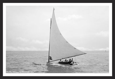 Vintage Sailboat Photo Restoration - Phyllis - Winner at Riverside in 1890