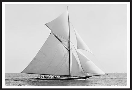Wasp 1892 - Vintage Sailboat art print restoration for Interior Design
