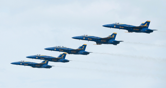 Blue Angels flying F-18 Superhornets in line formation
