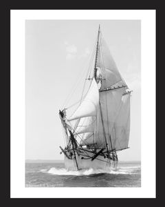 Vintage sailing photography art print restoration - Schooner E. I .White -1896