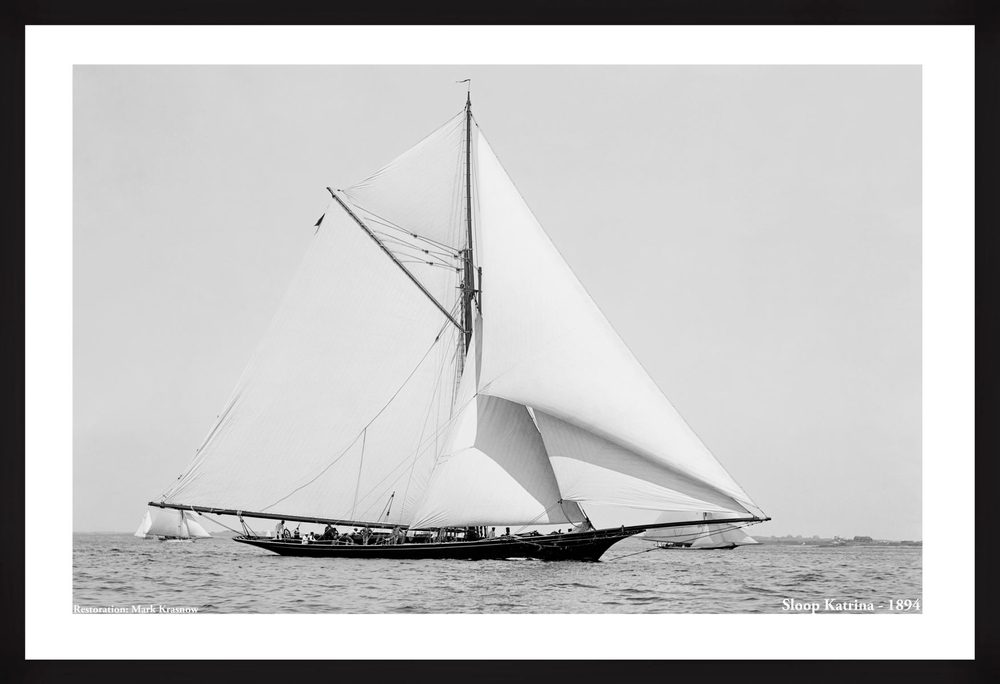 Vintage Sailboat Photo Restoration Katrina - Late 1800's