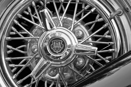 Vintage  Car Wire Wheel black & white art print