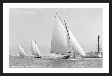 Corinthian Series in Marblehead - 1901 - Vintage sailing photography art print restoration