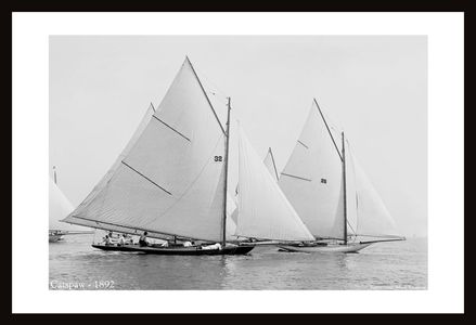 Catspaw - 1892 - black and white antique sailing art print restoration
