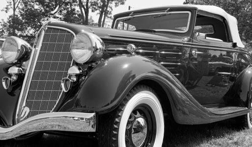 Hudson Classic Car Black And White Photography Art Print