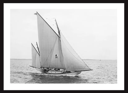 Fidelio - 1897 - Cat Yawl - Vintage Art Print Sailboat Restoration