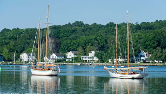 Charlotte and Incandesa in the morning at Mystic Seaport  in Mystic, CT