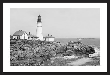 Portland Head Light, Cape Elizabeth, ME, 1902 vintage art print restoration