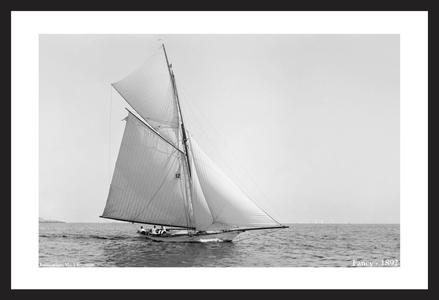 Antique Sailing art print restorations - Yacht Fancy - 1892