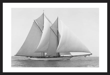 Merlin - 1892  - Vintage sailing photography art print restoration