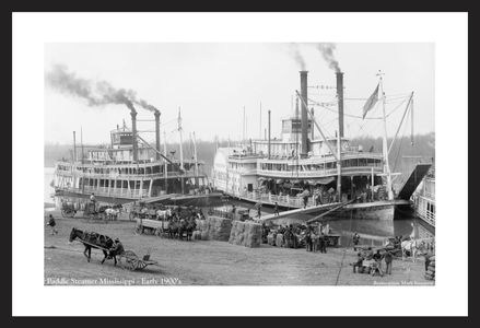 Paddle steamers in Mississippi - Early 1900's - Historic photo art print restoration
