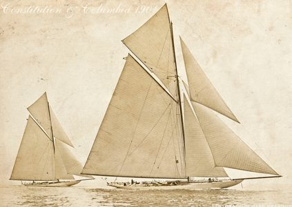 Vintage America's Cup - Constitution and Columbia 1901 - Sepia Art Print for Home and Office
