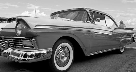 Ford Fairlane classic car photo art print in black & white