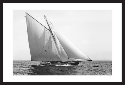 vintage sailing photography art print restoration  - Vencedor 1897