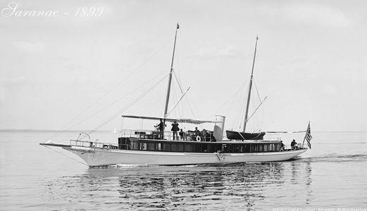 Vintage Restored Sailing Motor Yacht  Art Print - Saranac 1899