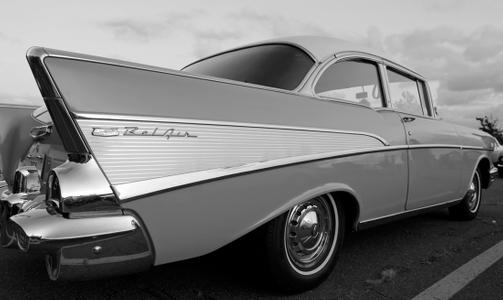 Chevy Bel Air black & white photo art print