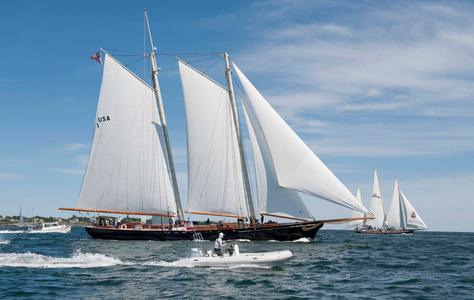 Schooner America and the Spirit of Bermuda at the Newport to Bermuda Start 2016