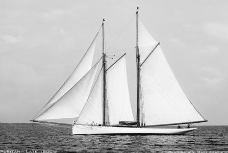 Puritan - Late 1800s Retouched Sailing Art Print