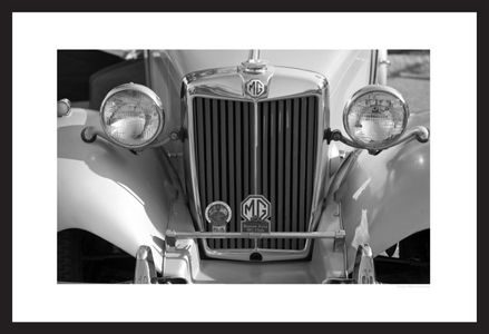 MG vintage automobile grill black & white photography art print