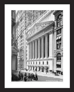 New York Stock Exchange - 1904 historic black & white art print restoration