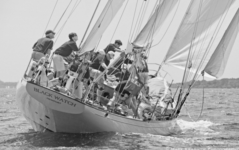 Black Watch Racing at the NYYC Classic Regatta in Newport, RI - B&W art print