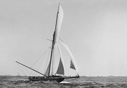 Shamrock Crossing the Line - 1899 - Historic photography sailing art print restoration America's Cup