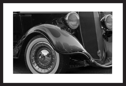 classic car details - black & white art prints