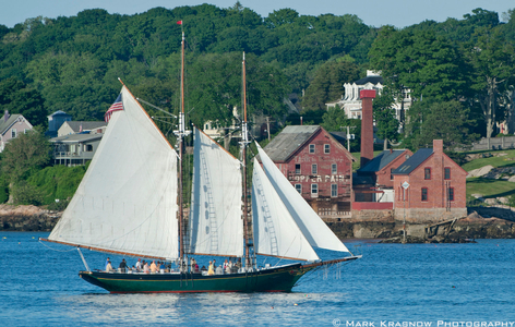 Schooner Thomas E. Lannon and the Old Wonson Paint Factory - Now the Ocean Alliance