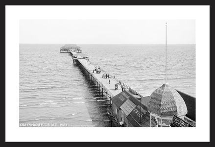 Old Orchard Beach Pier, Maine 1904 - black & white vintage art print restoration