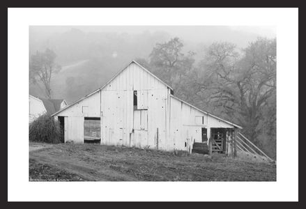 Old barn black & white art print