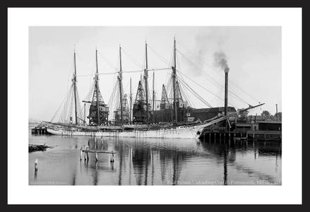 Historic Sailing art print restorations - Paul Palmer Unloading Coal in Portsmouth NH - 1903