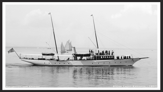 Vintage Sailboats - Restored Art Prints for Home & Office - Steam Yacht Kanawha, Glencove 1897