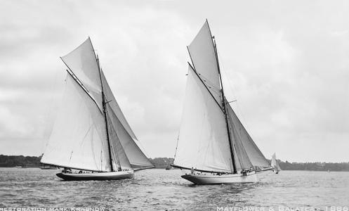 Mayflower and Galatea 1886 - Vintage Restored Sailing Art Print