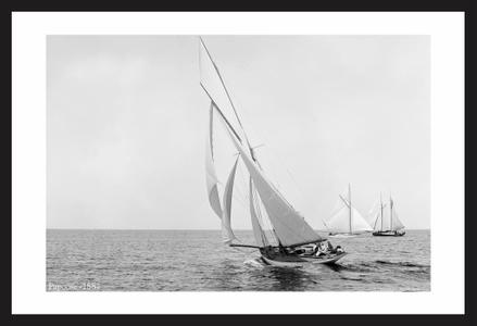 Antique sailing art print restorations - Papoose - 1887