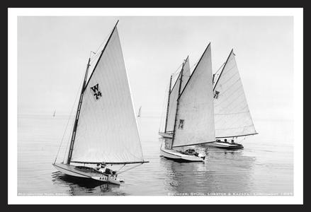Vintage Sailing Restoration Art Print - Bouncer, Spunk, Lobster & Kazaza  at Larchmont - 1899
