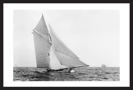 Historic sailing art prints restored - Sloop Kathleen - 1891