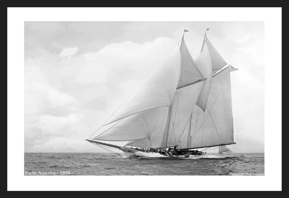 Yacht America - 1899 - Vintage sailing America's Cup photography art print restoration