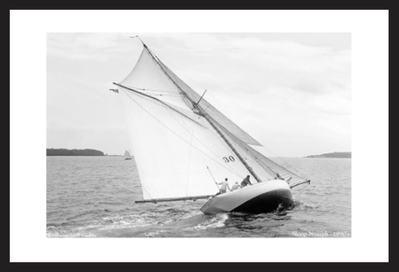 Sloop Nymph - 1890's  - Vintage sailing photography art print restoration