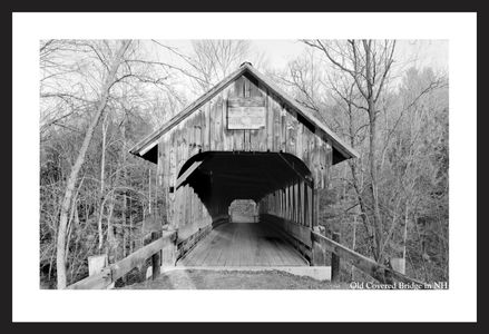 Old covered bridge art print - historic black & white restoration