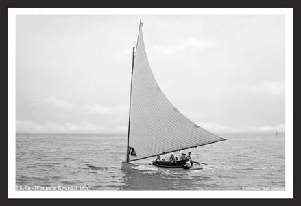 Vintage Sailboat Photo Restoration - Phyllis - Winner at Riverside in 1890