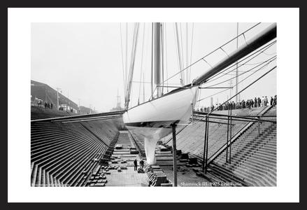 Shamrock III - Erie Basin 1903 - Historic art print restoration