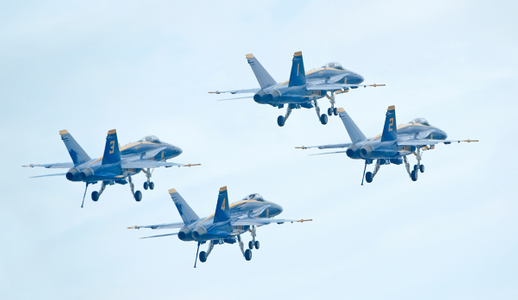 Blue Angels Superhornets in Formation at airshow