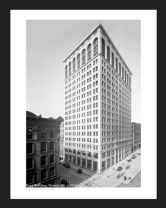 Ford Offices Building - c1910  black & white art print restoration