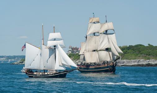 Schooners STV Unicorn and HMS Bounty Leaving Newport