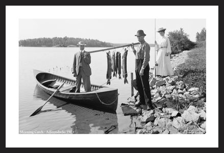 Morning Catch in the Adirondacks 1903 black & white art print restoration