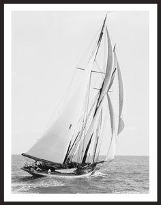 Schooner Quickstep 1891 - Vintage Sailboat art print restoration for Interior Design