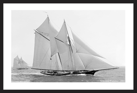 Schooner Fortuna 1892  - Vintage sailing photography art print restoration for home and office interior design