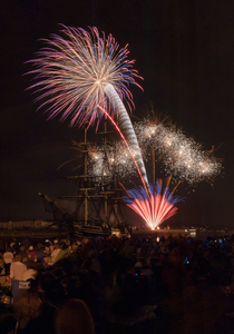 Fireworks silouetting the Friendship of Salem art print