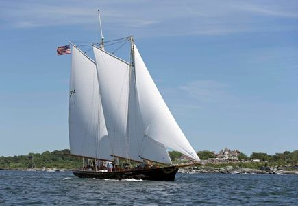 Schooner America off Castle Hill at the Newport to Bermuda Start 2016