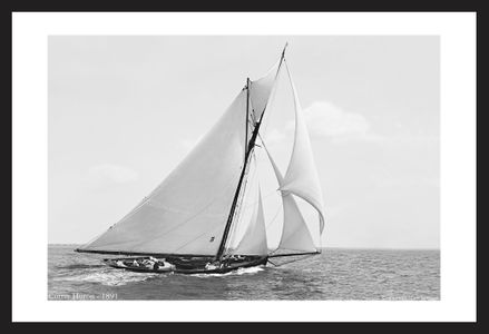 Antique sailing photography art print restoration - Cutter Huron -1891